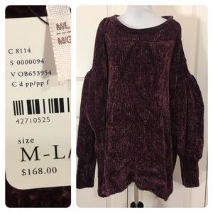 NWT! Free People Chenille sweater - cold shoulder